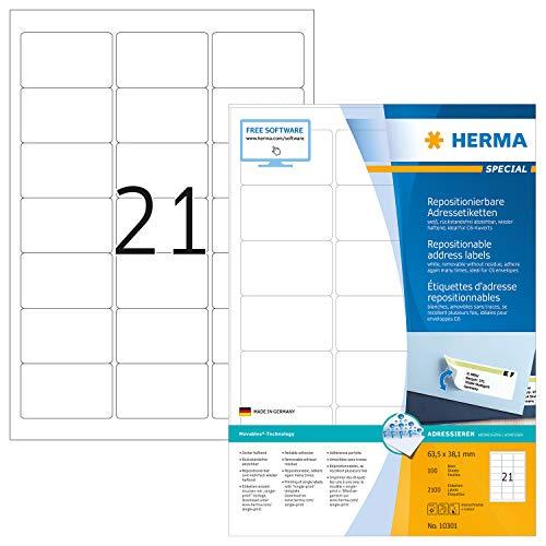 HERMA 10301 Adressaufkleber DIN A4 ablösbar (63,5 x 38,1 mm, 100 Blatt, Papier, matt) selbstklebend, bedruckbar, abziehbare und wieder haftende Adress-Etiketten, 2.100 Klebeetiketten, weiß