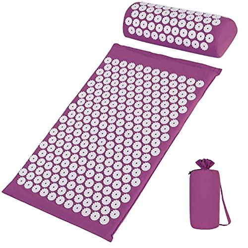 Esterilla de Acupresión con Bolsa de Transporte, Kit de Masaje con Almohada para Acupuntura y Yoga, Estera para Aliviar el Insomnio Dolor de Espalda Cuello Dolor Ciático Relajar los Músculos,Violeta