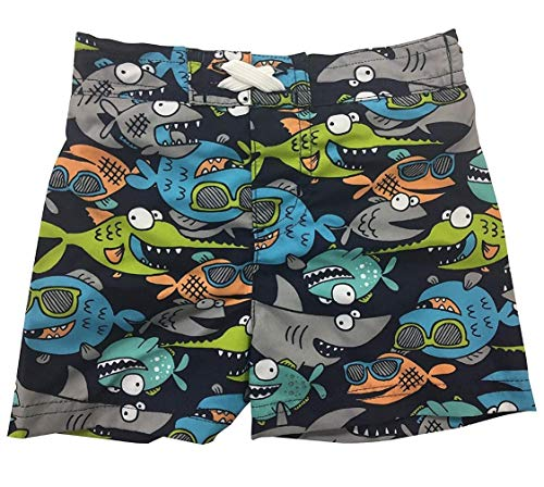 Circo Baby Infant Boys' Fish and Sharks Fun Bucket Swim Hat or Board Shorts Swim Trunks with Mesh Lining (Board Shorts Swim Trunks, 0-6 Months)