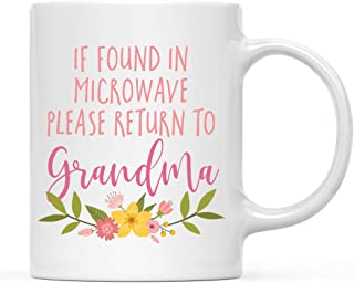 Andaz Press Funny Mother's Day 11oz. Coffee Mug Gift for Mom, If Found in Microwave Please Return to Grandma, 1-Pack, Novelty Birthday Christmas Hot Chocolate Cup