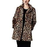 Women Leopard Faux Fur Coat Long Sleeve Open Front Parka Overcoat Winter Sexy Lapel Fluffy Jacket Cardigan (10)
