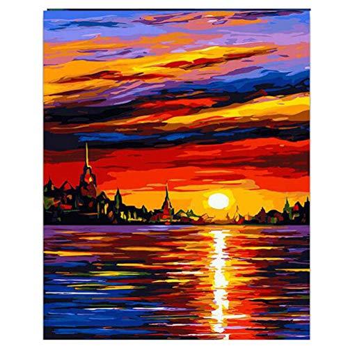 ZWBBO Canvas schilderij Decoratieve schilderijen Zee Schilderen Door Getallen Boot Kleurplaten Door Getallen Foto's Home Decor Canvas Decoraties Modulaire Afbeeldingen