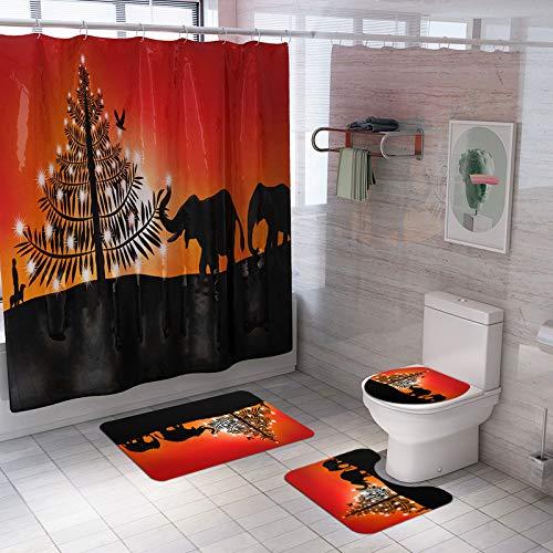 XIEPEI Mat Mat Vierteiliger Anzug Neue Kreative Duschvorhang Christmas Elephant Print Duschvorhang Mat Vierteilige Badezimmermatte Set