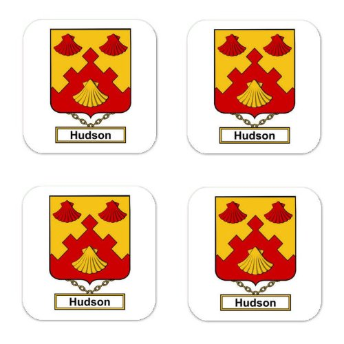 Hudson Family Crest Square Coasters Coat of Arms Coasters - Set of 4