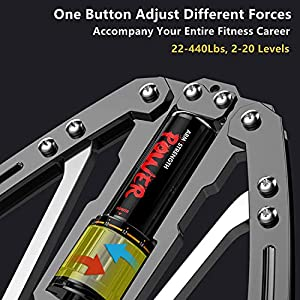 Adjustable Hydraulic Power Twister Arm Exerciser 22-440lbs Home Chest Expander Muscle Shoulder Training Fitness Equipment Arm Enhanced Exercise Strengthener Grip Bar Abdominal Builder (Grey)