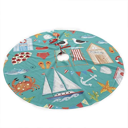 Romance-and-Beauty Beachy Summer Xmas Tree Skirt for Holiday Party Decorations Indoor Outdoor 90cm/35.5inch