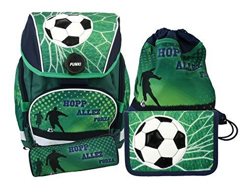 Schulrucksack Set, 4-teilig von FUNKI, Grundschul-Starter-Set für Jungen, Komplett-Set aus Schultasche, Etui, Rundbeutel und Turnbeutel mit Fussballmotiv, Polyester, FUNKI Joy-Bag Soccer, 35x30x21cm