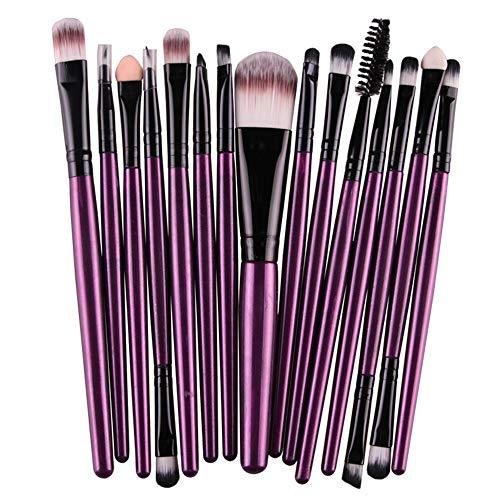 MoGist 15 pcs Pinceaux Brosse Maquillage Visage Yeux Blush Contour Lèvres Pinceaux Correcteur Dust Tube noir tige violetCette brosse pour application de base est parfaite pour le maquillage quotidien