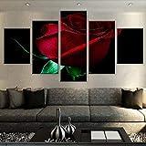 Lienzo De Arte De Pared De Rosa Roja 5 Piezas Pintura Colgante Moderna Hogar Arte Terminado Mural Cálido Hogar Fresco