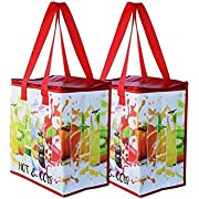 Insulated Reusable Grocery Bag Shopping Tote - Keeps Food Hot or Cold Large Durable Thermal Cooler Double Zipper Pull with Top Lid Closure Food Delivery and Catering (Grey)