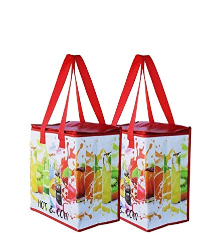 Earthwise Insulated Reusable Grocery Bag Shopping Tote with Zipper Top Lid Durable Thermal...