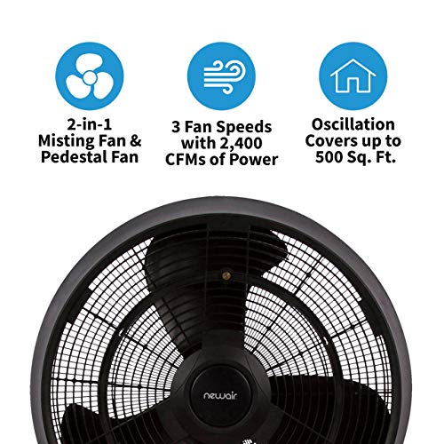 NewAir, AF-520B, Outdoor Misting Oscillating Pedestal Fan with Five Gentle Mist Nozzles, 500 Square Foot Effective Range, Black