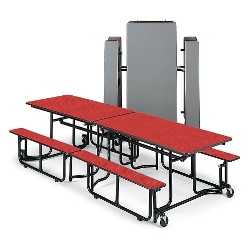 "Hot Sale Ki Folding Table With Benches - 10'X29-1/2"" - Seats 8-12 Individuals - Black Frame - Red Wave"