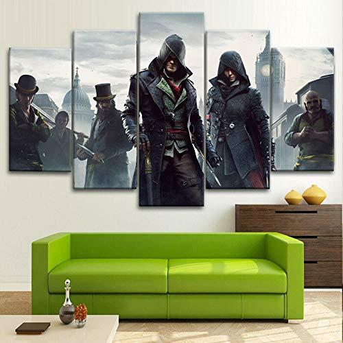 Impresiones sobre Lienzo Assassins Creed Syndicate Game 150X80 Cm 5 Panel Mural Decor Creatividad Salón Dormitorio Oficina Cuarto