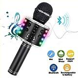 Micrófono Karaoke Bluetooth con luz LED, 4 en 1 Multifunción Microfono Inalámbrico Karaoke con Altavoz,función de grabación, Micrófono para Niños/KTV/Fiesta al Aire, Compatible con Android/iOS PC