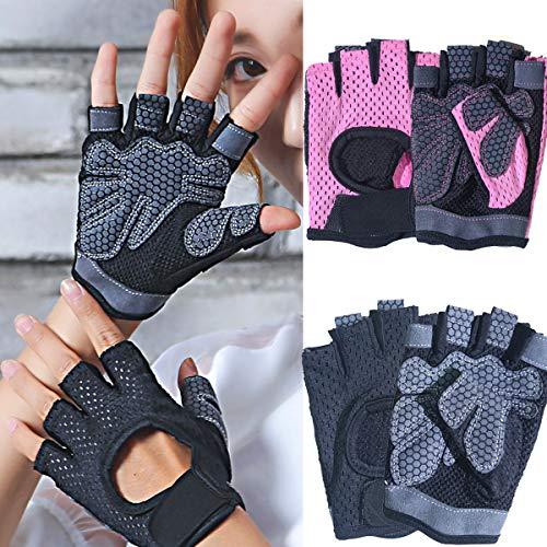dancepandas Fitness Handschuhe Damen 4PCS Trainingshandschuhe Pink Fahrradhandschuhe rutschfest Dünn Sporthandschuhe für Bodybuilding, Crossfit,Krafttraining,Fahrrad Fahren,Damen&Herren