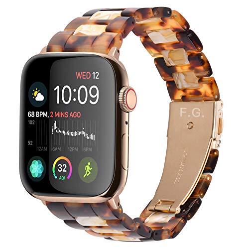 Fullmosa 7 Colores Correa de Resina Compatible con Apple Watch de 38mm 40mm 42mm 44mm, Correa Reloj para iWatch SE, Serie 6/5/4/3/2/1, Nike+ Deporte, 40mm Amarillo Claro+Ámbar Oscuro/Herraje O