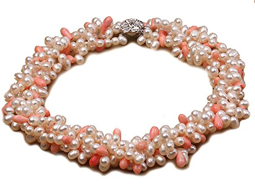 JYX four-strand 5x 7mm weiß Süßwasserperlen Halskette Tropfenform, Korallen-Perlen Pink'