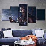 FHEWUI Cuadro En Lienzo Lienzo Mural Mural Sala De Estar Decoración del Hogar 5 Piezastomb Radio Lara Croft Imagen HD Imprimir Cartel - Listo para Colgar -100 X 55 cm