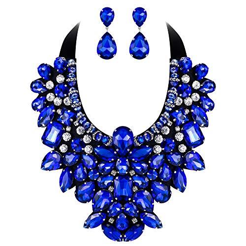 EVER FAITH Parure Gioielli Donna, Cristallo Retro Costume Statement Collana Orecchini Set per Banchetto, Ballo Blu Argento-Fondo