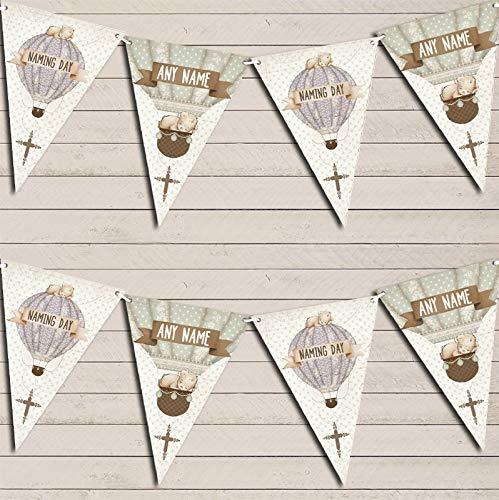 Hot Air Balloon Teddy Bear Vintage Naming Day Banner Christening Personalised Bunting Banner Garland