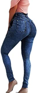 Women High Waisted Paper Bag Tie-Knot Off Denim Jeans Pencil Pants