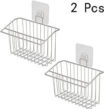 BESTONZON 2 Pcs Stainless Steel Kitchen Sink Organizer Holder Punch Free Sponge Dishwashing Sponge Liquid Drainer Rack