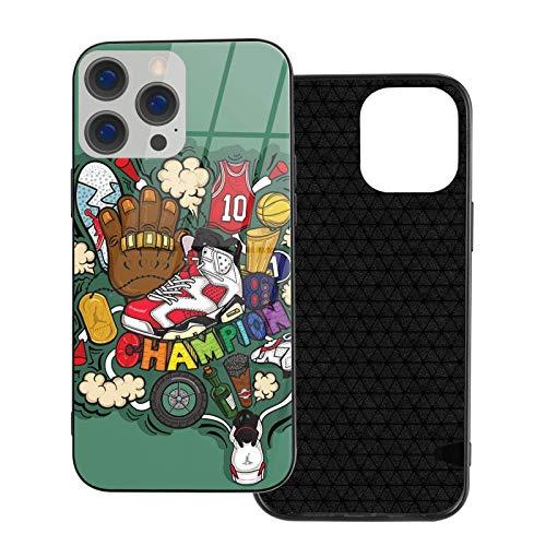 Champion & Jordan 6 Funda para teléfono para iPhone 12 Funda de Cristal de TPU para móvil Compatible con Funda anticolisión (iPhone 12 Mini)