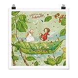 Bilderwelten Poster Erdbeerinchen Erdbeerfee - Trampolin, Selbstklebend seidenmatt 50 x 50cm