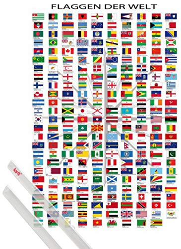 1art1 Flaggen Der Welt Poster (91x61 cm) Ländernamen Und Hauptstädte, In Deutsch Inklusive EIN Paar Posterleisten, Transparent
