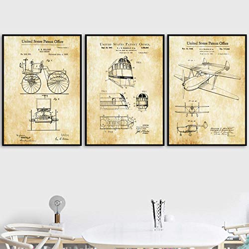 Vintage vliegtuig fiets patent tekening muurkunst canvas schilderij Nordic poster en afdrukken wandafbeeldingen voor woonkamer decoratie 40x60cmx3 niet ingelijst