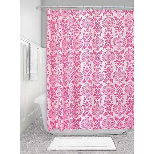 iDesign Damask Duschvorhang   hochwertiger Duschvorhang mit Ösen aus Metall  Designer Duschvorhang in der Größe 183,0 cm x 183,0 cm   Polyester pink