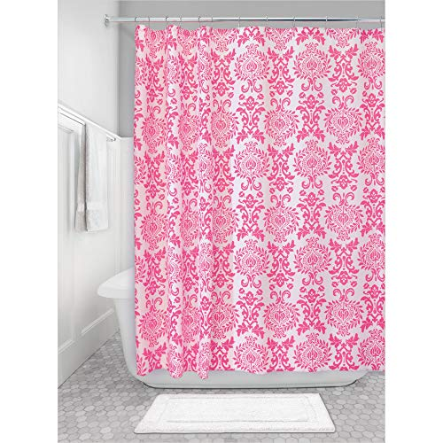 iDesign Damask Duschvorhang | hochwertiger Duschvorhang mit Ösen aus Metall| Designer Duschvorhang in der Größe 183,0 cm x 183,0 cm | Polyester pink
