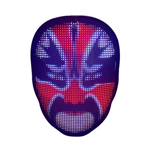 Queenser Máscara assustadora de Halloween Máscara de Natal com LED Máscara de fantasia de LED para festas de Suporte APP Upload de imagem Mudança de rosto por gesto