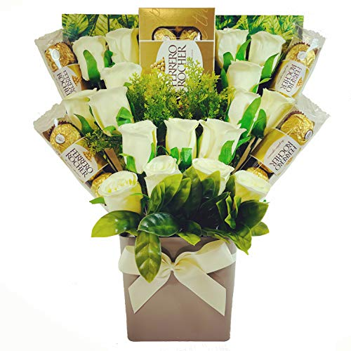 Large Ferrero Rocher 20 Chocolate Lovers Bouquet Gift Hamper with Ivory Silk Roses in Presentation Box
