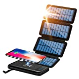 CXLiy Solar Power Bank Qi Portable Charger 10,000mAh External Battery Pack Solar Panel Charging Backup Charger with 2 Inputs 2 USB...