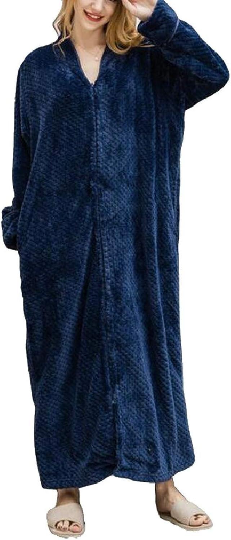 PujinggeCA Womens Flannel Winter Soft Pajamas Bathrobe Shower Nightgown Sleepwear