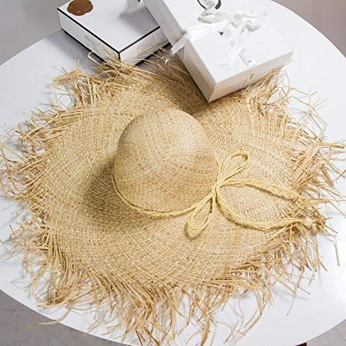 TSP Sombrero de paja de rafia natural 2021 para mujer, de ala ancha, protección solar, sombrero de playa para mujer (color: verde militar)