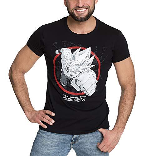 Elbenwald Dragon Ball Z para Hombre de la Camiseta de algodón Negro Goku Super Saiyan Ataque - M