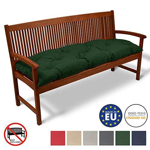 Beautissu Coussin pour Banc de Jardin Flair BK terrasse, Balcon - balancelle - Banquette - Assise Confortable - 150x50cm - Vert foncé