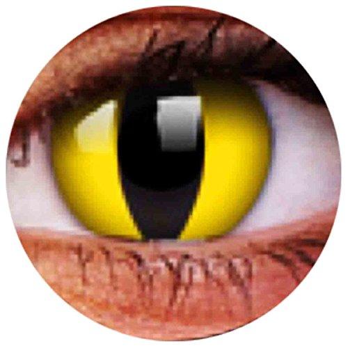 Farbige Kontaktlinsen Linsen Ohne Stärke Katzenaugen Katze Cat Eye Cateye Yellow Gelb 0 Dpt Halloween Karneval Party