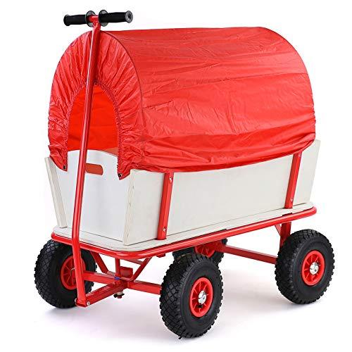 RAMROXX 34186 Bollerwagen Holz Handwagen Transportwagen Planwagen Transportkarre bis 150kg