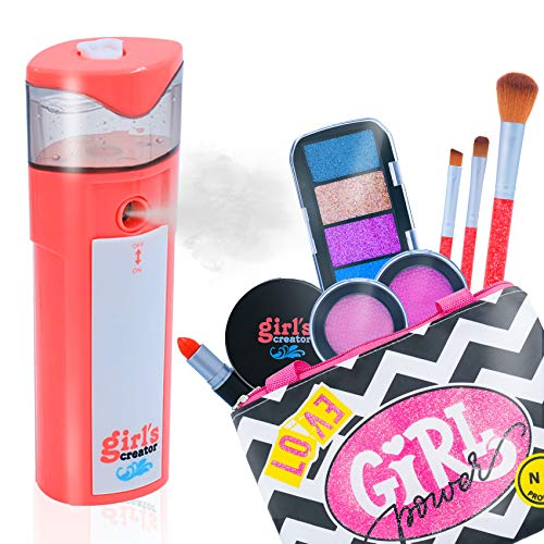 VERTOY Deluxe Girl Toys, Mini Facial Mister and Pretend Makeup Kit for Toddlers Kids Teenagers, Best Birthday for 3 4 5 6-12 Years Old Girls