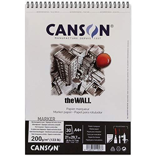 "Canson - Album a spirale ""The Wall"", 30 fogli, 200gr/m² , 21 x 29,7 cm, bianco, 1"