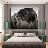 ganlanshu Peinture sans Cadre Lion tête à tête Toile Peinture Douce Affiche Animale et Impression Murale Art décoration30X45 cm