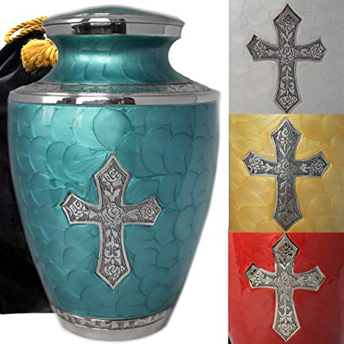 Glory to God Catholic/Christian Cross Cremation Urns for Adult Ashes for Funeral, Burial, Niche or Columbarium, 100% Brass, Cremation Urns for Human Ashes Adult 200 Cubic Inches (Large, Ocean)