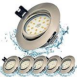 Foco LED Empotrable, Set de 6, 6W 230V, Blanco Cálido 3000K, Orientable, acero redondo IP23, ángulo de haz de 120°, Foco de techo LED para baño, Cocina, Recibidor, Oficina