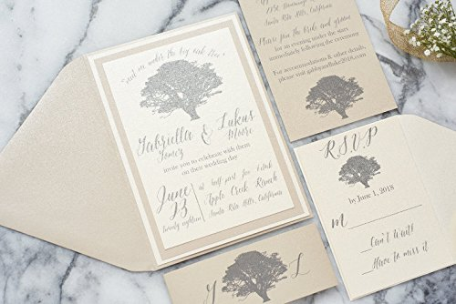 Custom Oak Tree Wedding Invitation Outdoor Rustic Wedding Card Set, Vow Renewal, Gabriella Sample