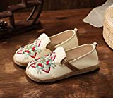 N&W Embroidered Shoes Women Embroidered Canvas Slip On Loafers Ladies Comfortable Casual Flat Shoes Retro Woven Sole Espadrilles Sneakers Old Beijing Embroidered Shoes