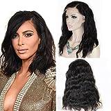 Zana Peluca de pelo virgen brasileño sin procesar con cabello estilo mojado, sujeción frontal natural, sin pegamento para línea capilar natural.